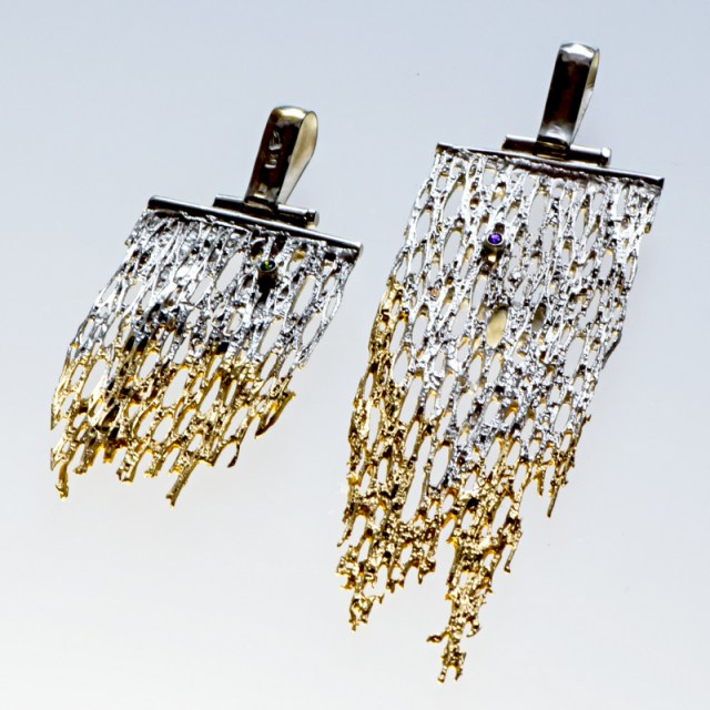 Srebrny wisior Kolce - pozłacane, oksydowane z cyrkonią