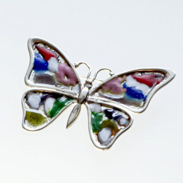 Srebrna broszka emaliowana motyl
