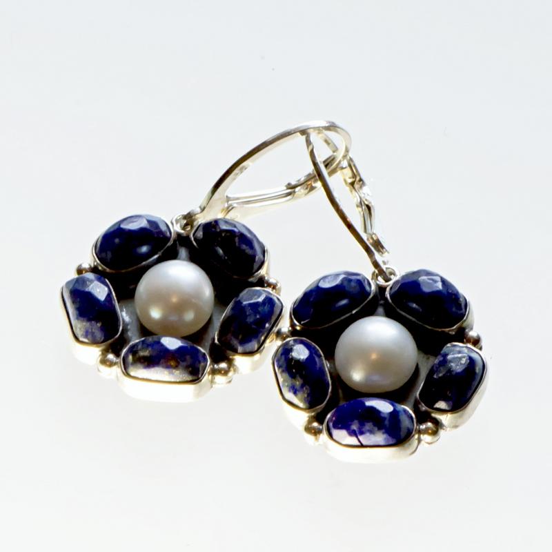 Srebrne kolczyki Kwiaty z kamieniami naturalnymi i perłami