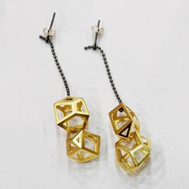 Srebrne kolczyki pozłacane Kryształy