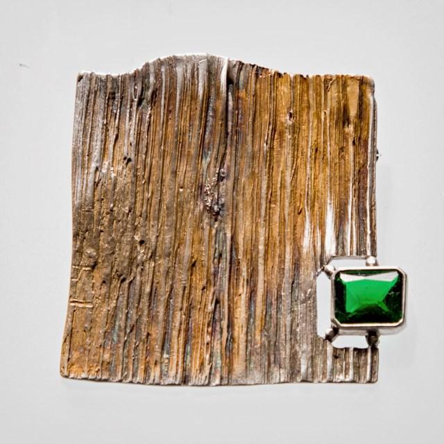 Srebrny broszko-wisior Faktura z okienkiem z kamieniem naturalnym