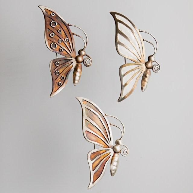 Srebrna broszka Motyl - srebro oksydowane lub emalia