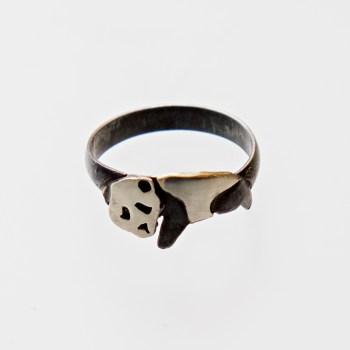 Srebrny pierścionek Panda