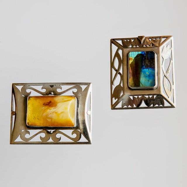 Srebrne broszko-wisiory Prostokątne Wycinanki z kamieniami naturalnymi