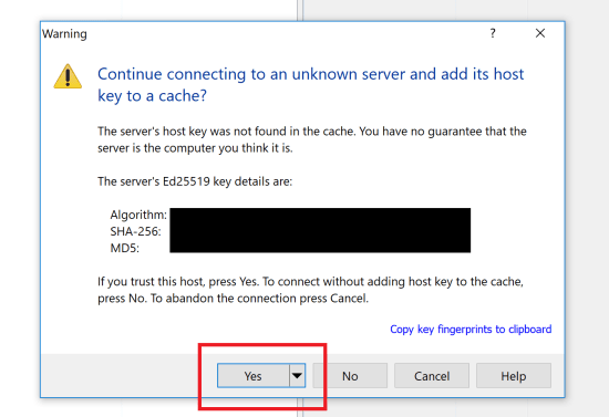 Continue Connecting to an Unknown Server