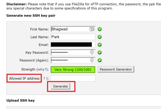 Generate a new SSH Key Pair in cPanel