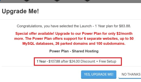 No Special Hosting Discount