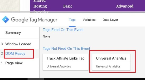 Select Universal Analytics in DOM Ready View