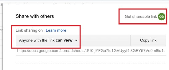 Enable Link Sharing for the Google Spreadsheet