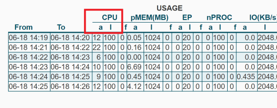 Minute by Minute CPU and I/O Usage