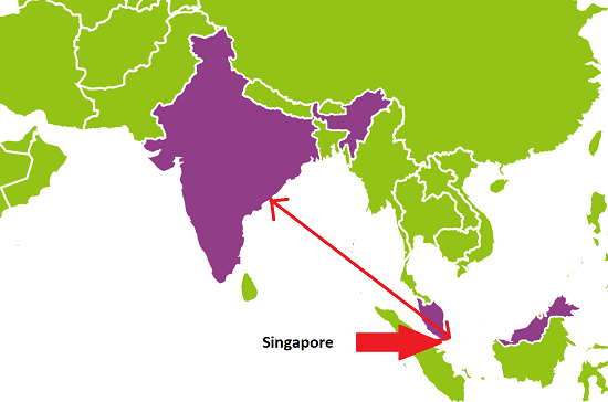 Map Singapore to India Distance