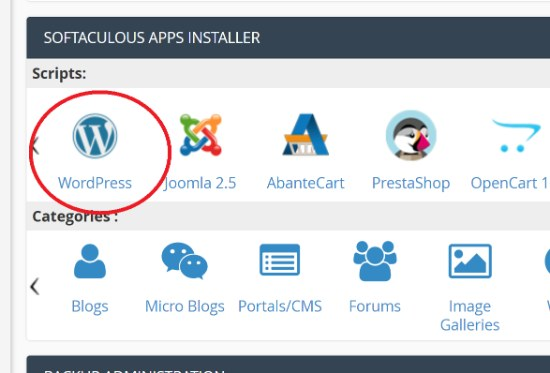 WordPress Icon in cPanel Softaculous