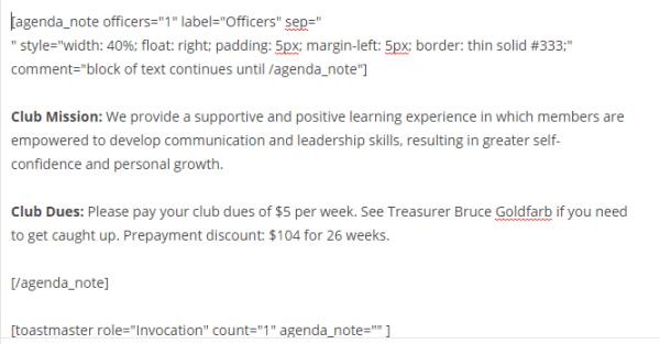 An agenda note displayed in the standard WordPress editor