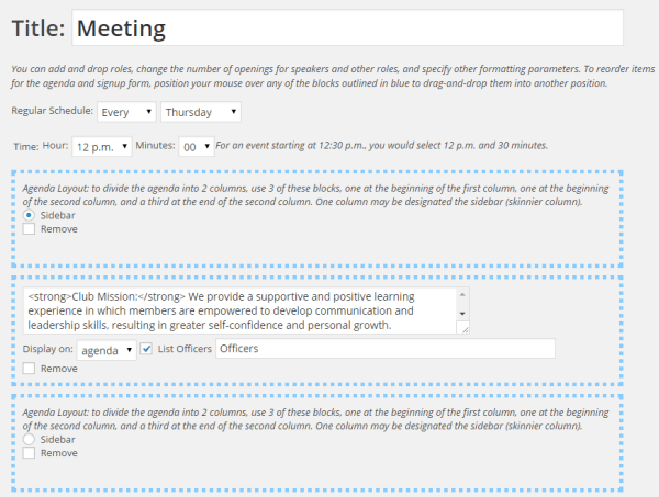 Agenda layout blocks can be used to designate that certain elements should be displayed on the agenda in a sidebar
