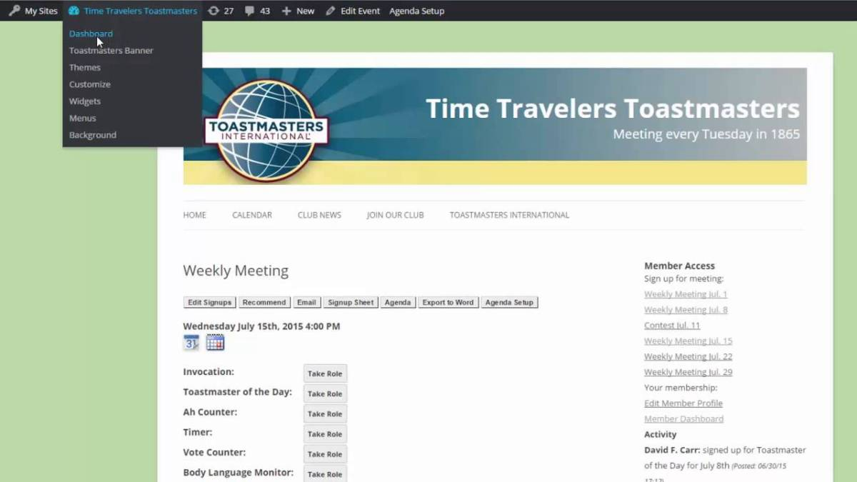 Video: Organizing Meetings and Promoting Your Club with WordPress for Toastmasters