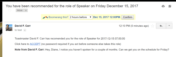 recommendation email