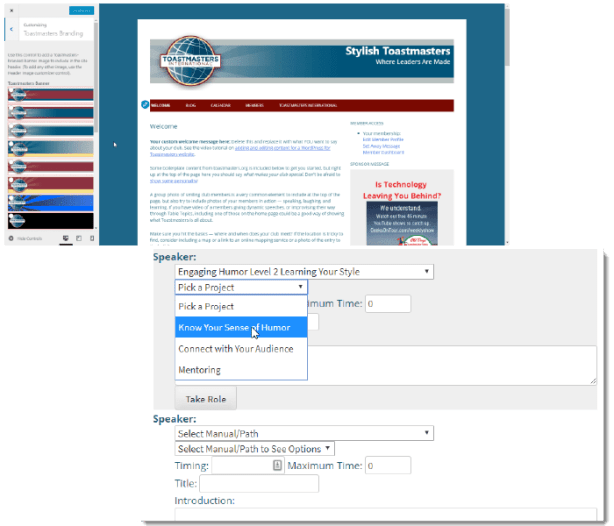 Screenshot of marketing and agenda management features
