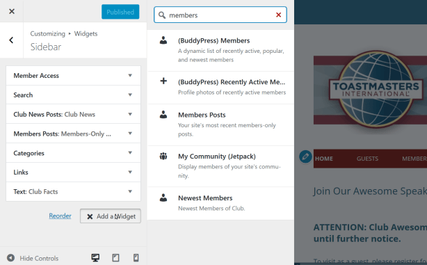 Adding and rearranging sidebar widgets using the WordPress Customize tool