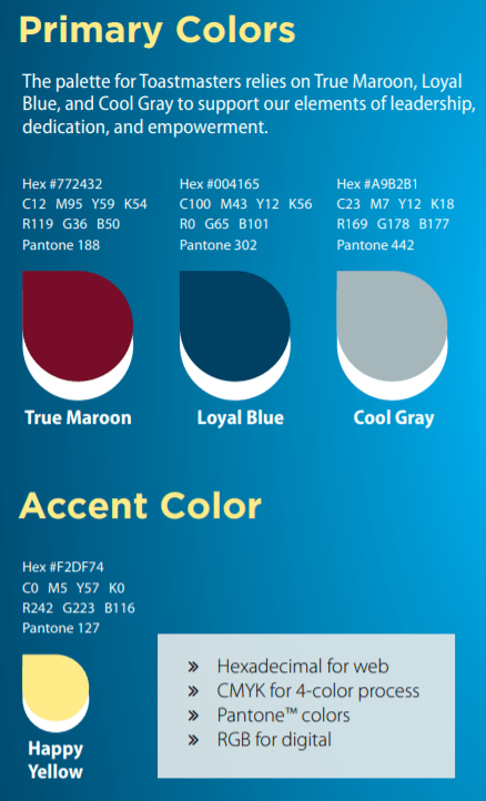 Toastmasters color palette