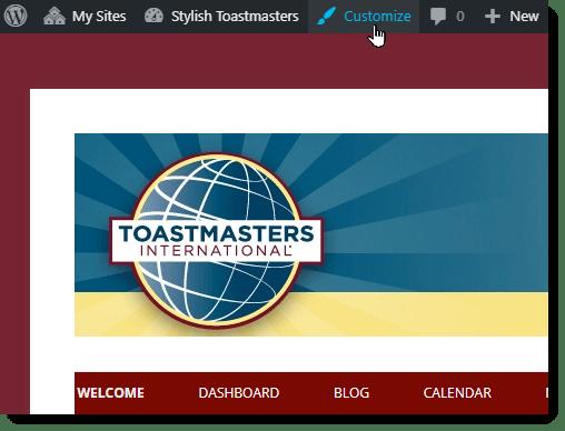 Accessing the WordPress Customize tool