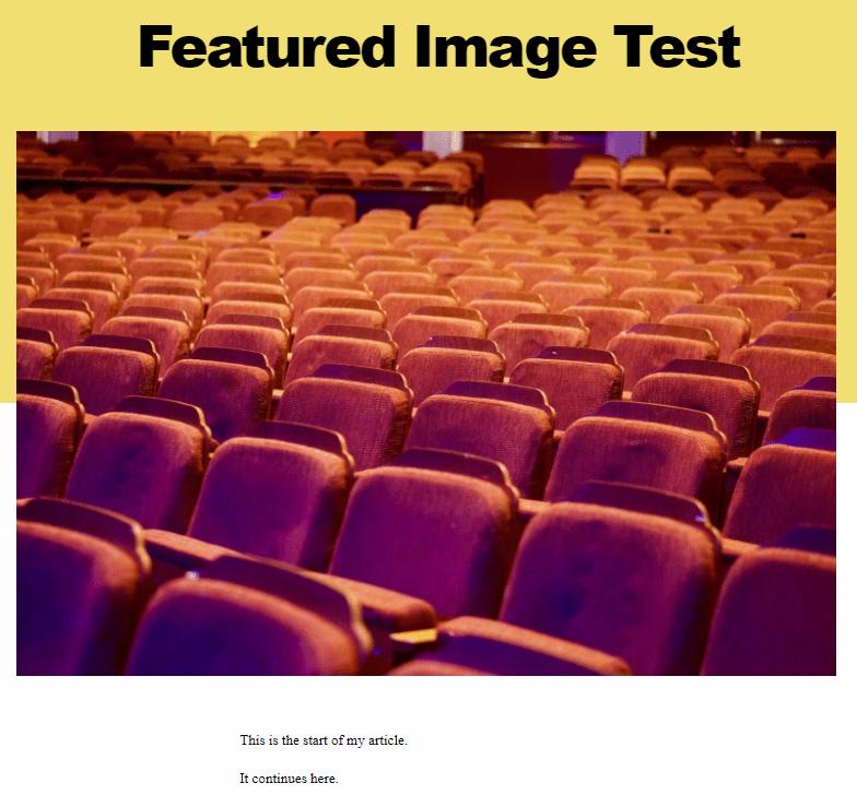 Screenshot: featured image in Twenty Twenty TM theme