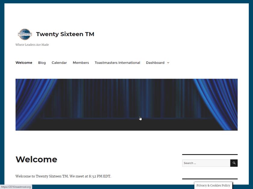 Screenshot: Twenty Sixteen TM theme for Toastmaters club websites