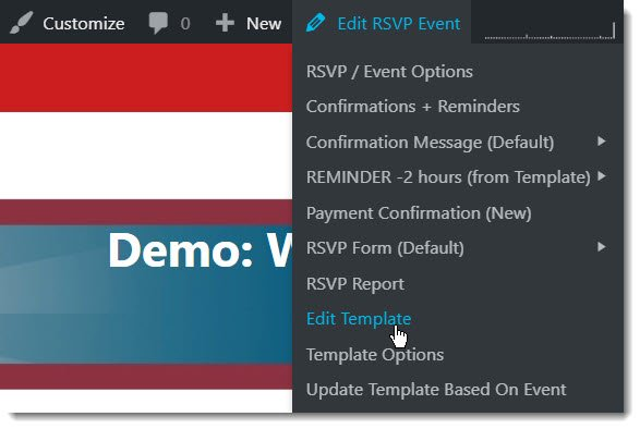 Admin Bar, RSVP Options