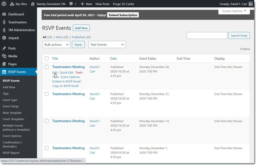 RSVPMaker Events listing