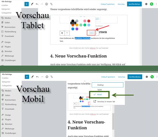 Anzeige Vorschau im Block-Editor für Tablet und für Mobilgeräte