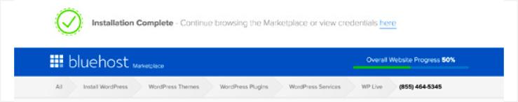 WordPress install successful