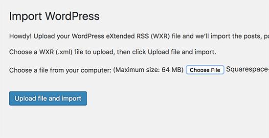 Upload export file