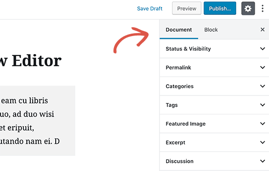 Document settings in Gutenberg the new WordPress editor