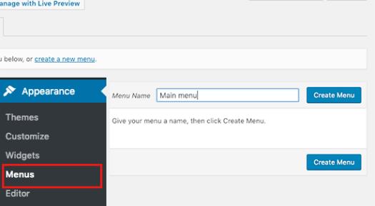 Creating new navigation menu
