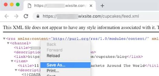 Save Wix RSS feed