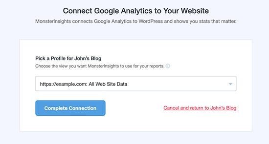Chọn hồ sơ trang web của bạn để thiết lập cạnh tranh