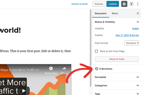 WordPress Post Revisions Button