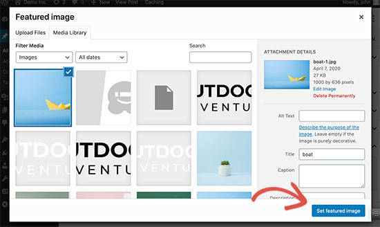 Setting a featured image