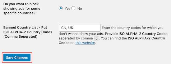 AdSense invalid clicks plugin block country code