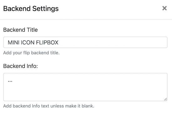 Change backend flipbox text