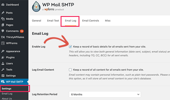Enable email log