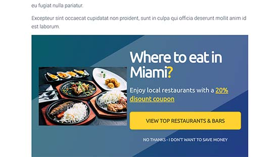 Inline campaign showing users locally relevant information