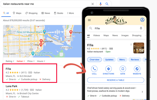 Local SEO in action in Google Search