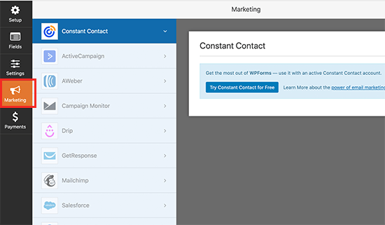 Connect your email marketing service to WPForms