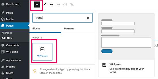 WPForms block