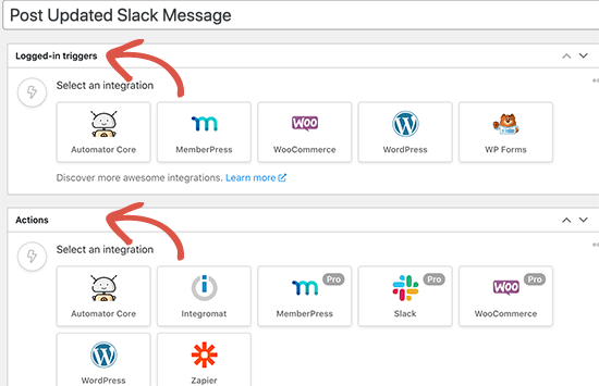 Actions and Triggers in Automator