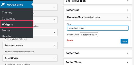 Add navigation menu widget to your footer widget area