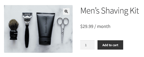 Subscription product example