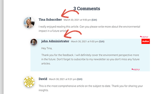 User role labels added to comments