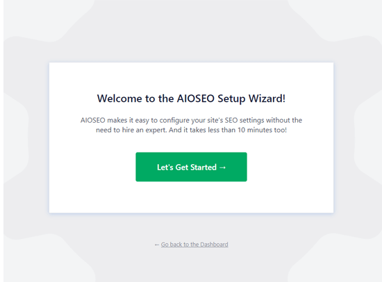 All in One SEO setup wizard