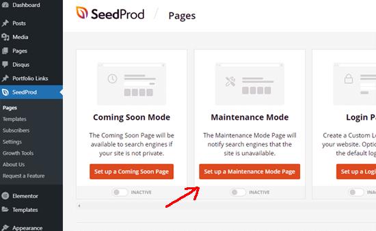 Set up a maintenance mode page